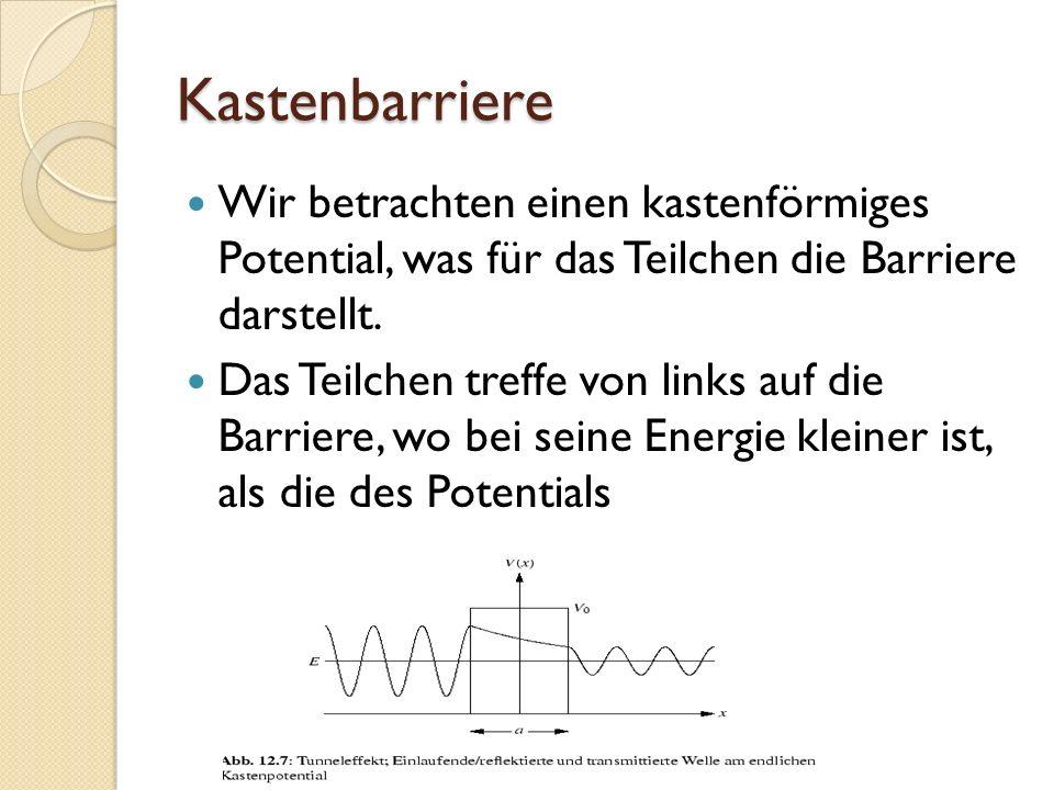 Kastenbarriere Wir betrachten einen kastenförmiges Potential, was für das Teilchen die Barriere darstellt.
