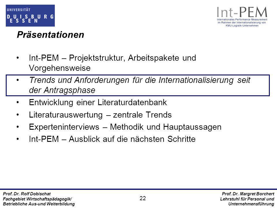 Präsentationen Int-PEM – Projektstruktur, Arbeitspakete und Vorgehensweise.