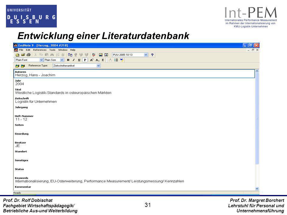 Entwicklung einer Literaturdatenbank
