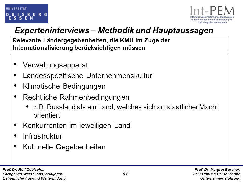 Experteninterviews – Methodik und Hauptaussagen
