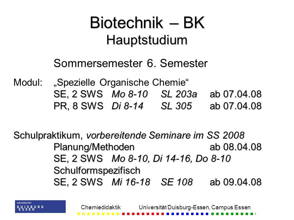 Biotechnik – BK Hauptstudium
