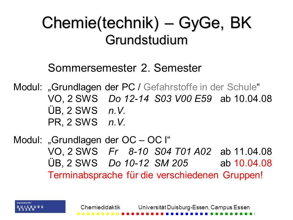 Chemie(technik) – GyGe, BK Grundstudium
