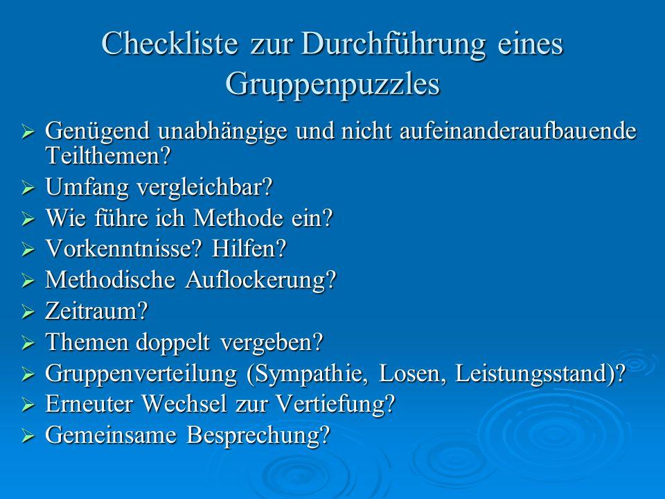 Checkliste zur Durchführung eines Gruppenpuzzles