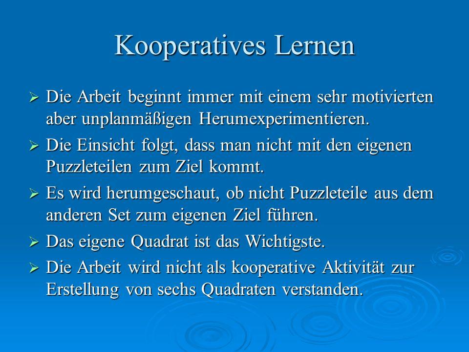 Kooperatives Lernen Die Arbeit beginnt immer mit einem sehr motivierten aber unplanmäßigen Herumexperimentieren.