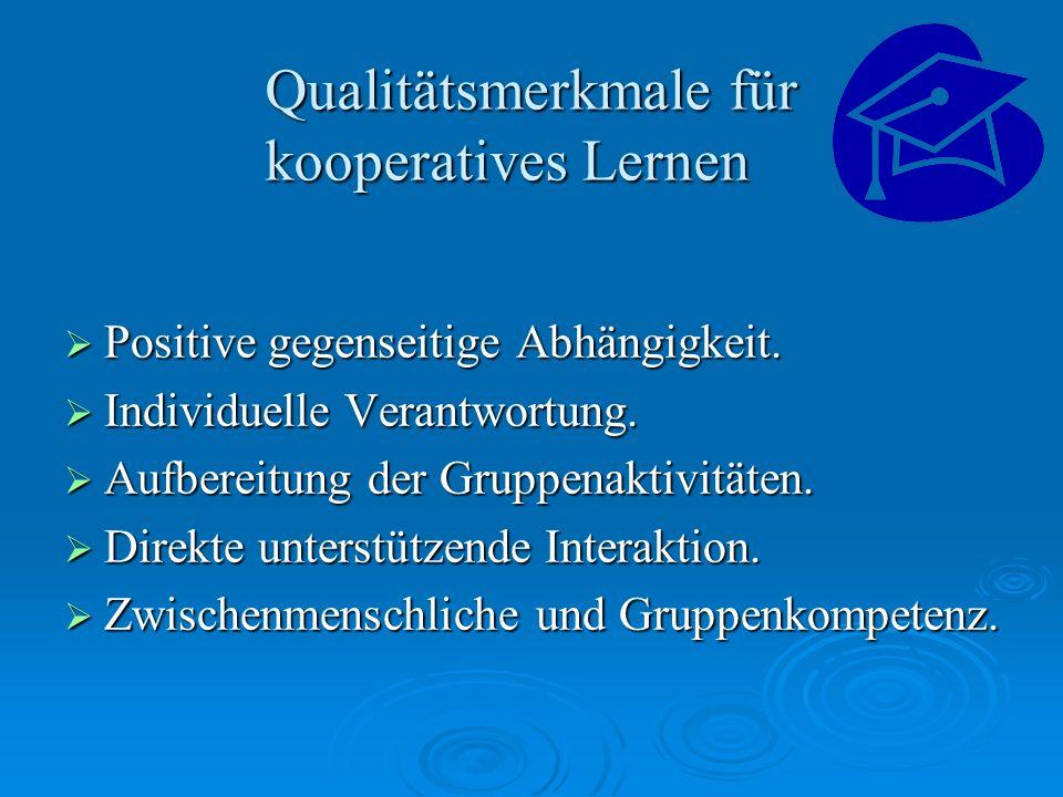 Qualitätsmerkmale für kooperatives Lernen