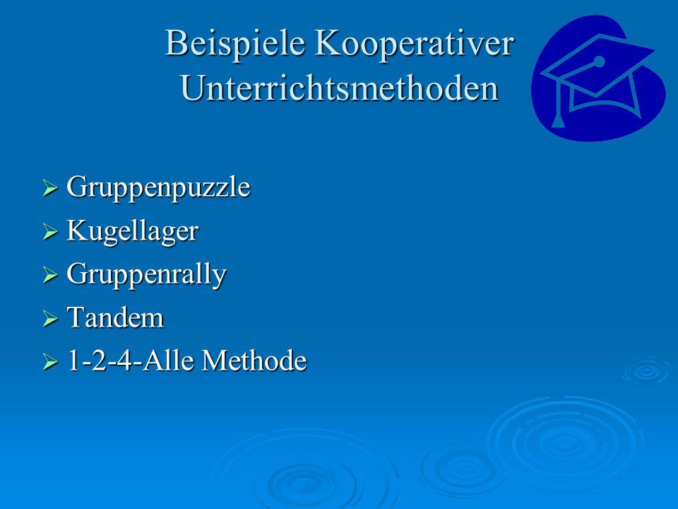 Beispiele Kooperativer Unterrichtsmethoden