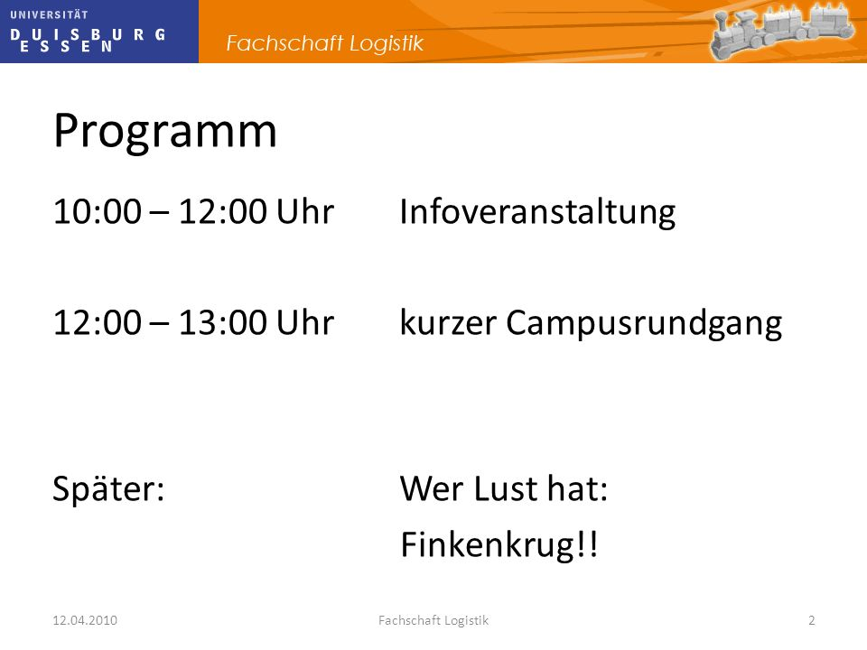 Programm 10:00 – 12:00 Uhr Infoveranstaltung 12:00 – 13:00 Uhr kurzer Campusrundgang Später: Wer Lust hat: Finkenkrug!!