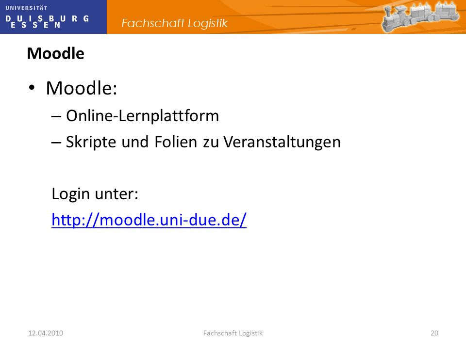 Moodle: Moodle Online-Lernplattform
