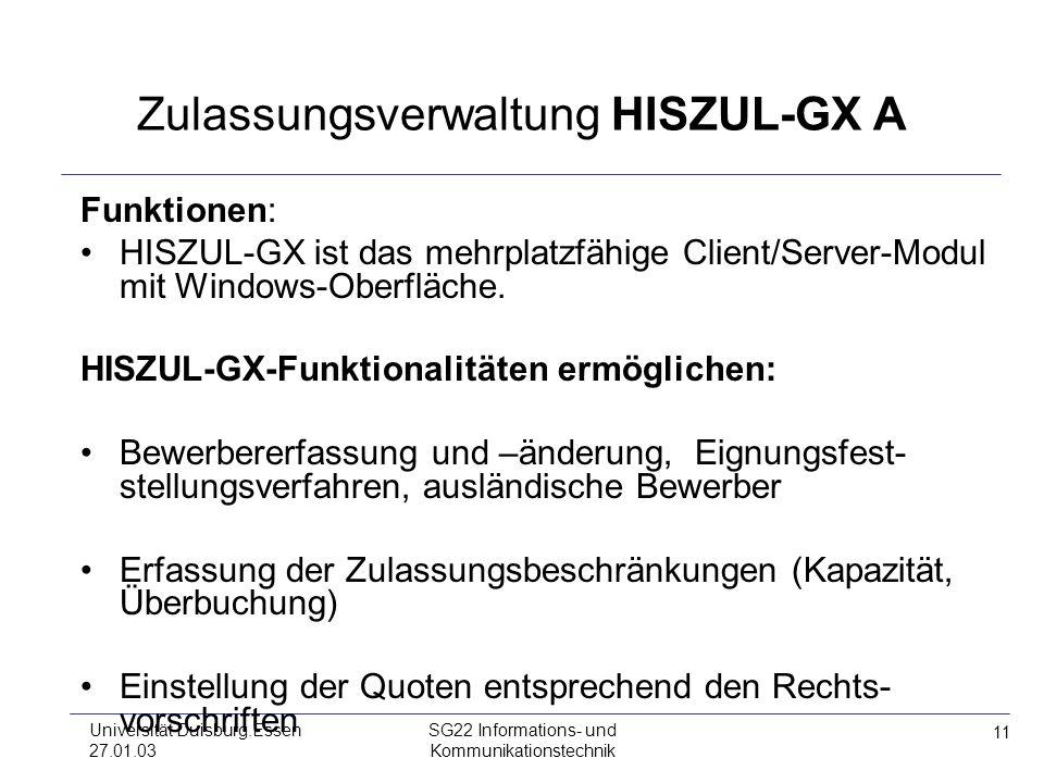Zulassungsverwaltung HISZUL-GX A