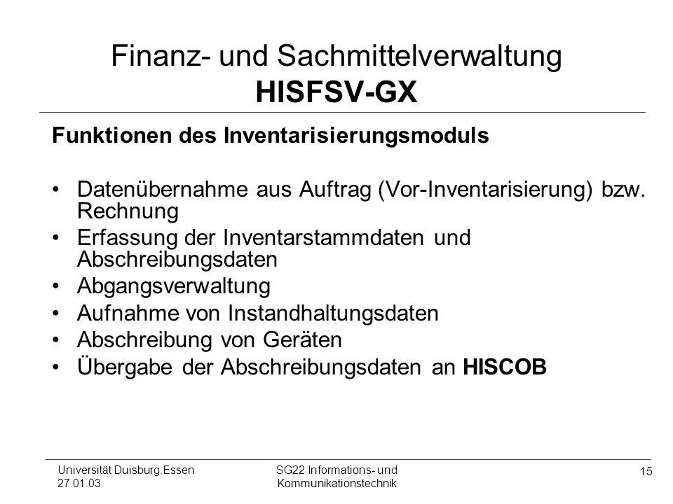 Finanz- und Sachmittelverwaltung HISFSV-GX