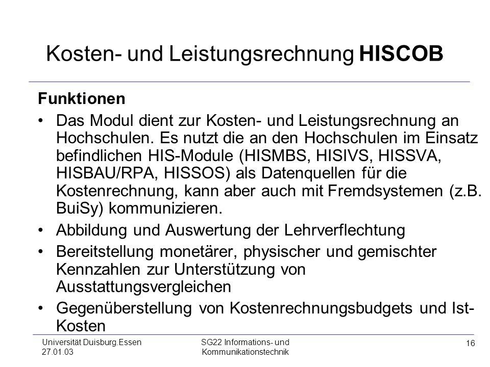 Kosten- und Leistungsrechnung HISCOB