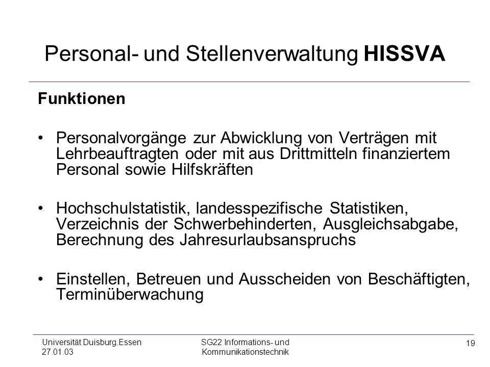 Personal- und Stellenverwaltung HISSVA