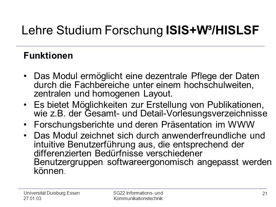 Lehre Studium Forschung ISIS+W³/HISLSF