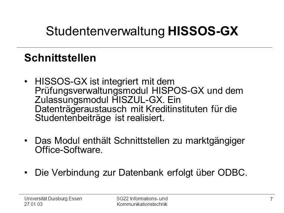 Studentenverwaltung HISSOS-GX
