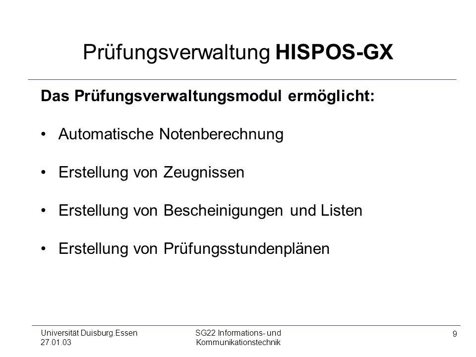 Prüfungsverwaltung HISPOS-GX