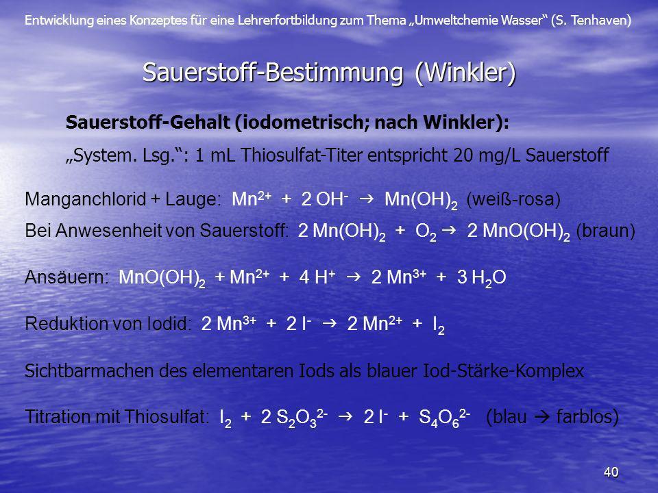 Sauerstoff-Bestimmung (Winkler)