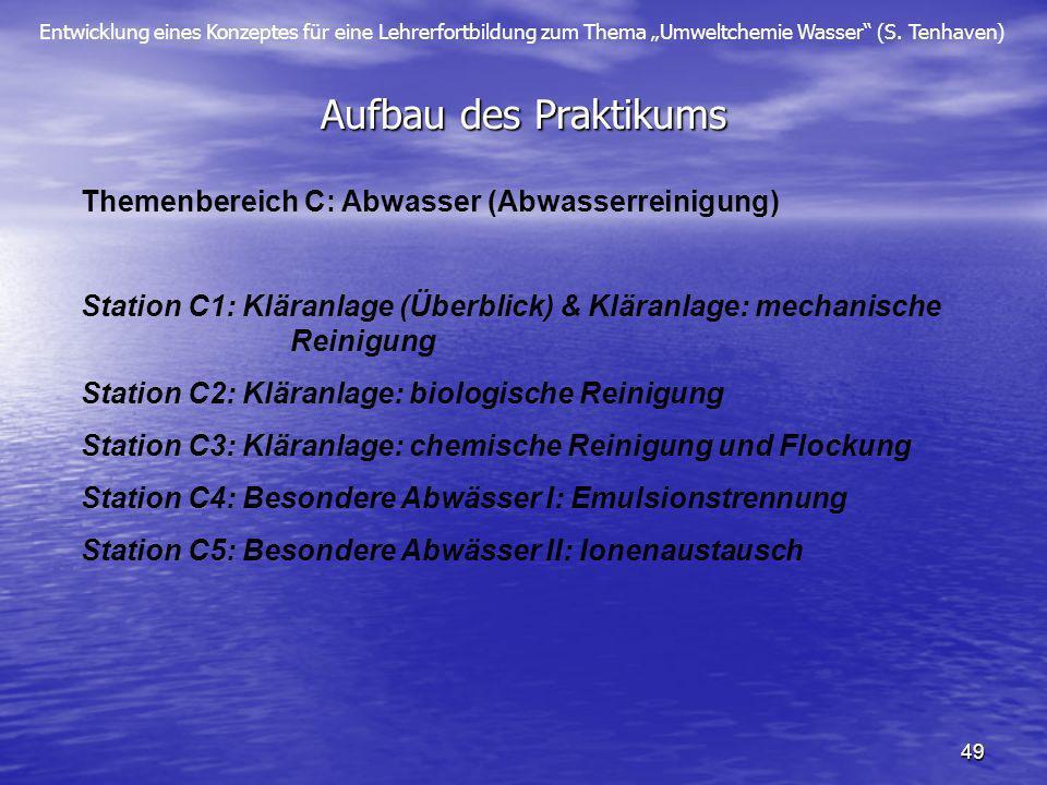 Aufbau des Praktikums Themenbereich C: Abwasser (Abwasserreinigung)
