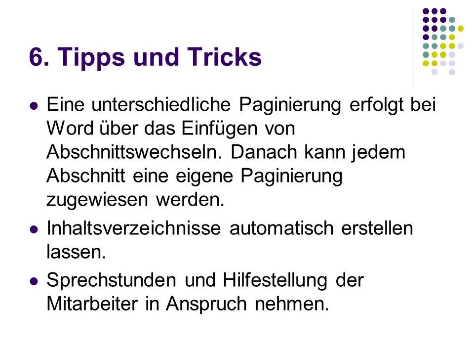 6. Tipps und Tricks