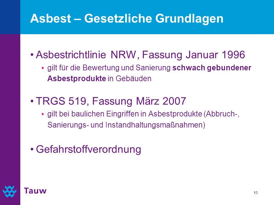 Asbest – Gesetzliche Grundlagen