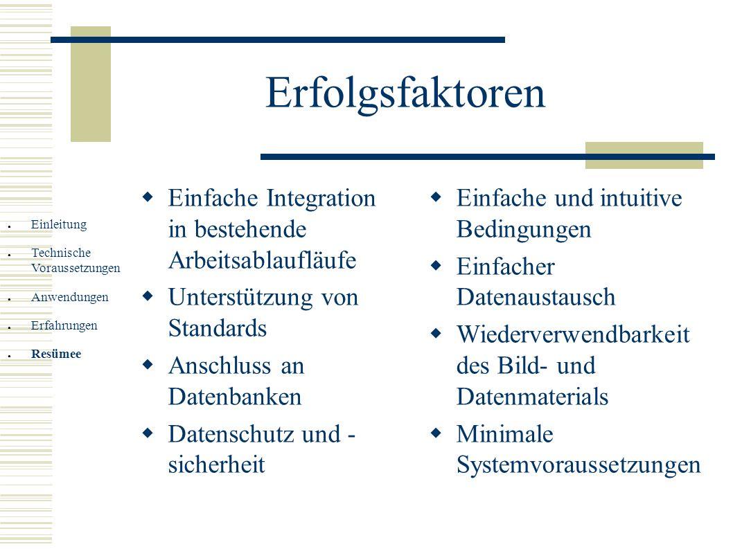 Erfolgsfaktoren Einfache Integration in bestehende Arbeitsablaufläufe