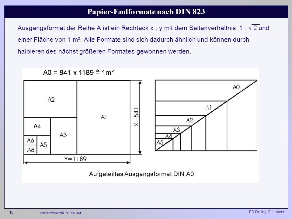 Papier-Endformate nach DIN 823