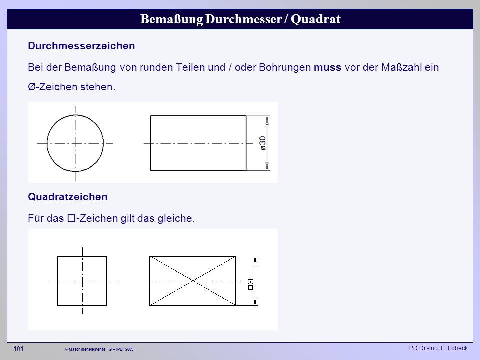 Bemaßung Durchmesser / Quadrat