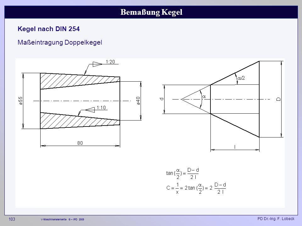 Bemaßung Kegel Kegel nach DIN 254 Maßeintragung Doppelkegel