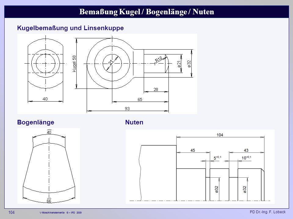 Bemaßung Kugel / Bogenlänge / Nuten