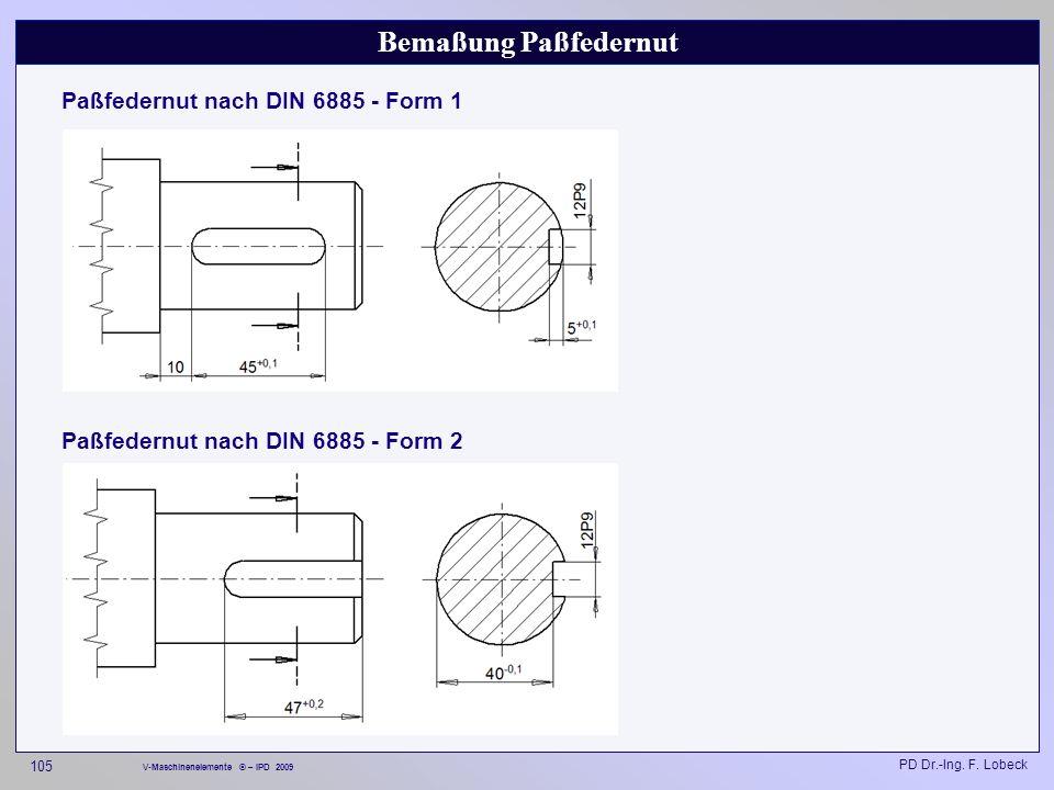 Bemaßung Paßfedernut Paßfedernut nach DIN 6885 - Form 1