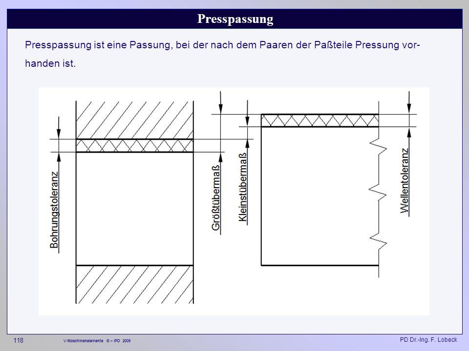Presspassung Presspassung ist eine Passung, bei der nach dem Paaren der Paßteile Pressung vor-handen ist.