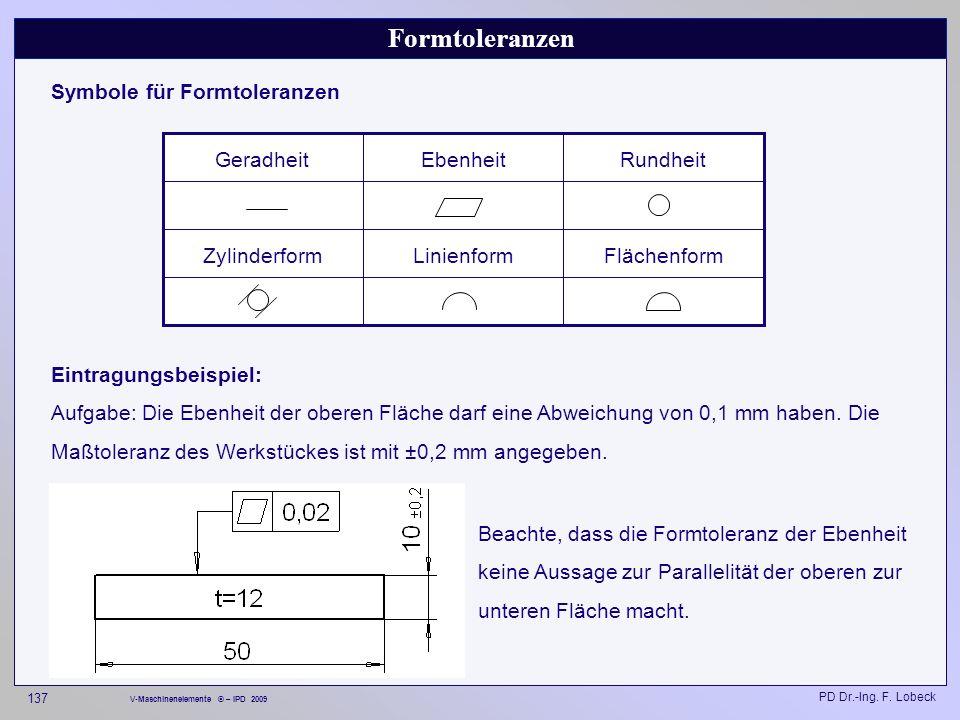 Formtoleranzen Symbole für Formtoleranzen Flächenform Linienform