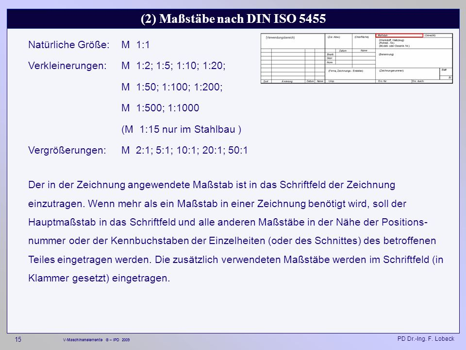 (2) Maßstäbe nach DIN ISO 5455