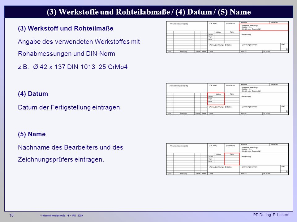 (3) Werkstoffe und Rohteilabmaße / (4) Datum / (5) Name