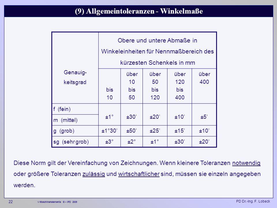 (9) Allgemeintoleranzen - Winkelmaße