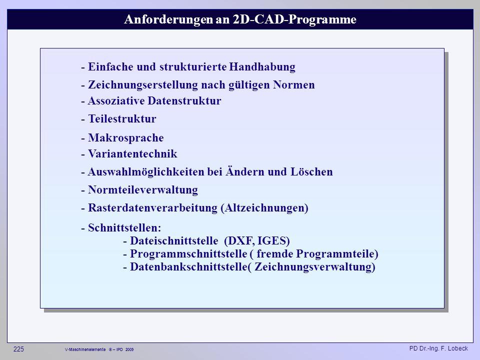 Anforderungen an 2D-CAD-Programme