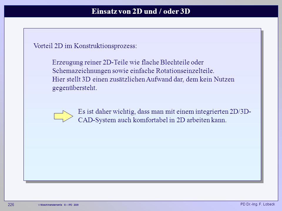 Einsatz von 2D und / oder 3D