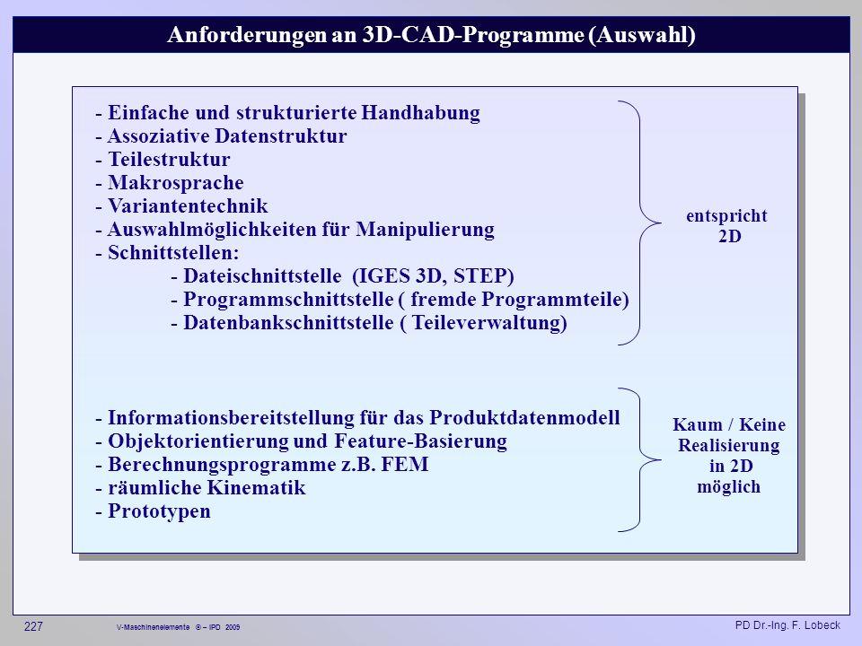 Anforderungen an 3D-CAD-Programme (Auswahl)