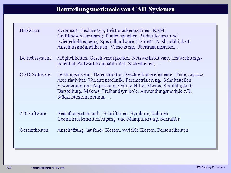 Beurteilungsmerkmale von CAD-Systemen