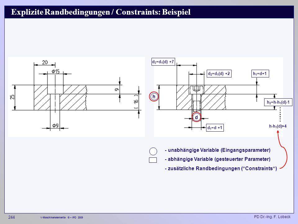 Explizite Randbedingungen / Constraints: Beispiel