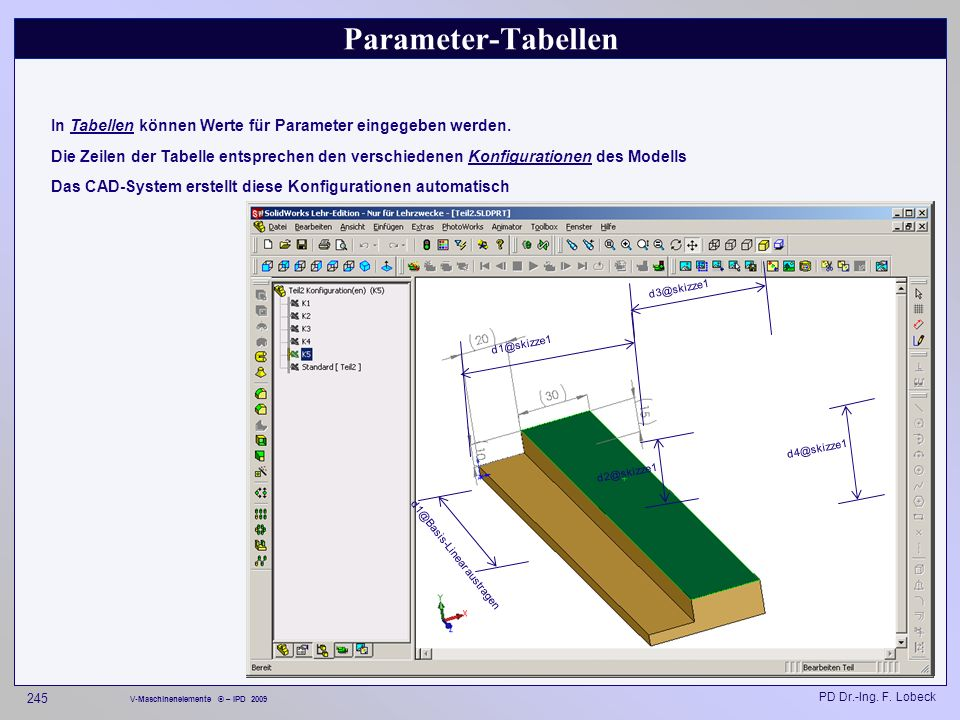 Parameter-Tabellen In Tabellen können Werte für Parameter eingegeben werden.