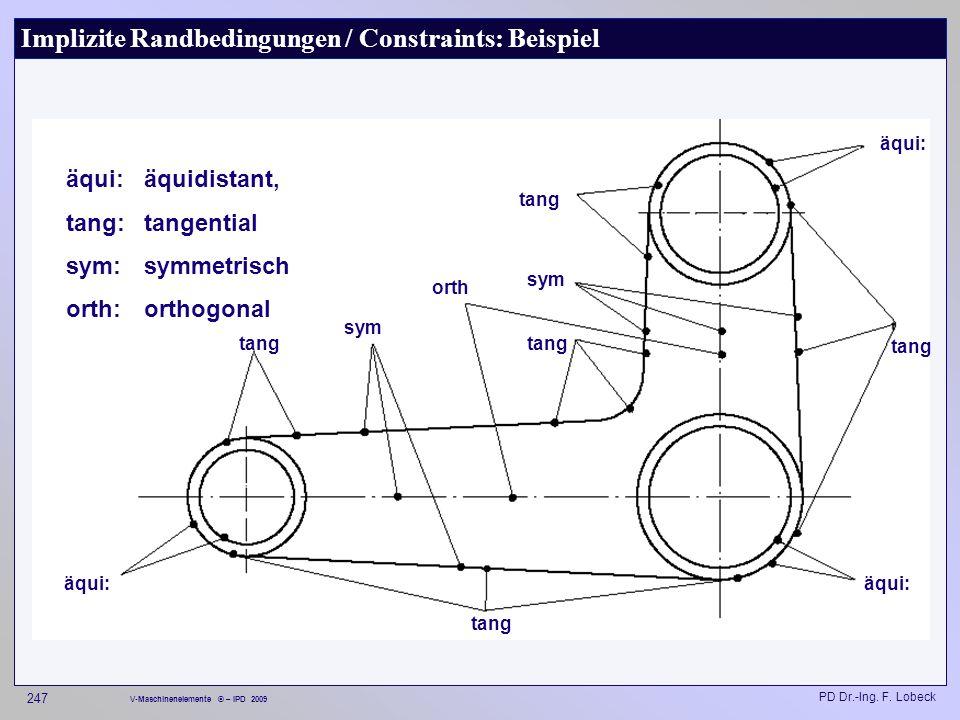 Implizite Randbedingungen / Constraints: Beispiel