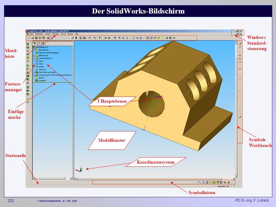 Der SolidWorks-Bildschirm