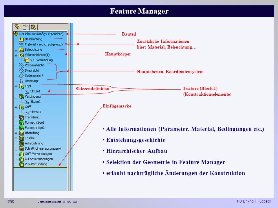 Feature Manager Bauteil. Zusätzliche Informationen hier: Material, Beleuchtung… Hauptkörper. Hauptebenen, Koordinatensystem.