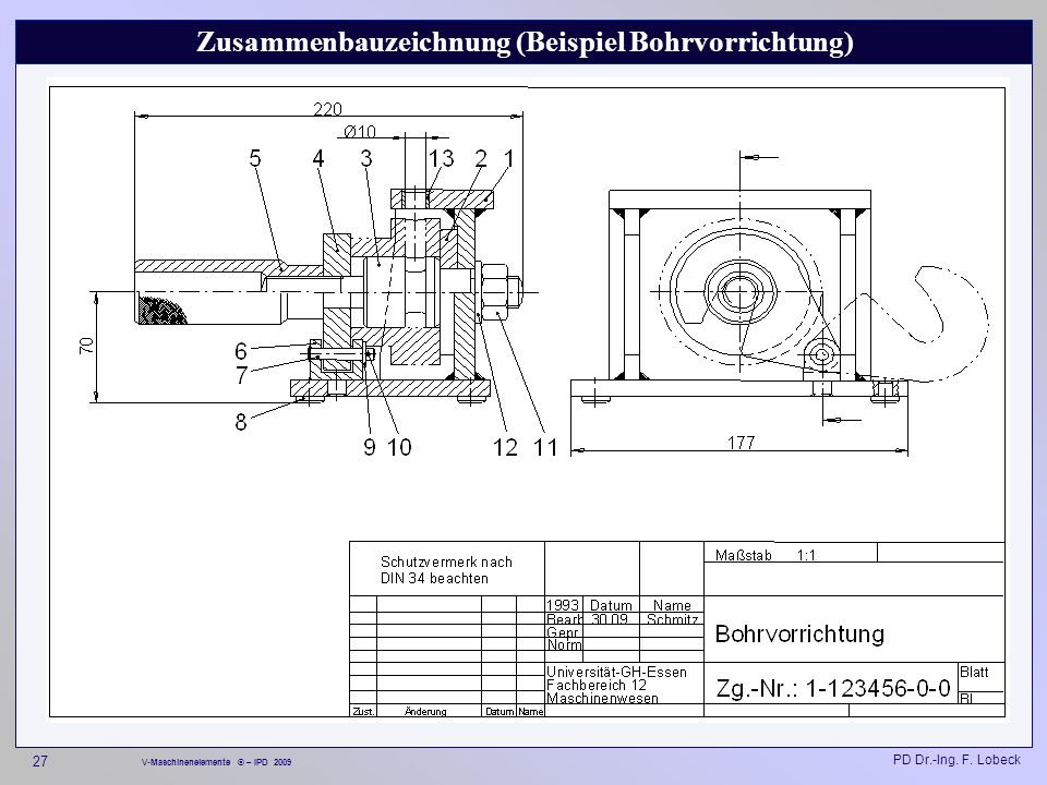 Zusammenbauzeichnung (Beispiel Bohrvorrichtung)
