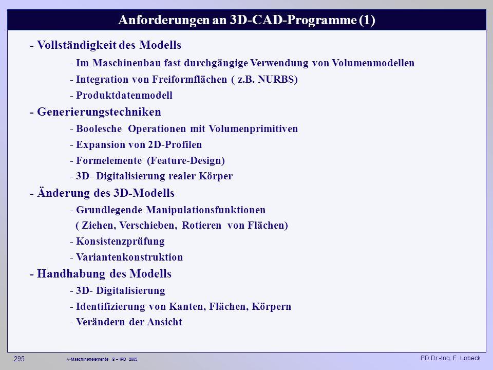 Anforderungen an 3D-CAD-Programme (1)