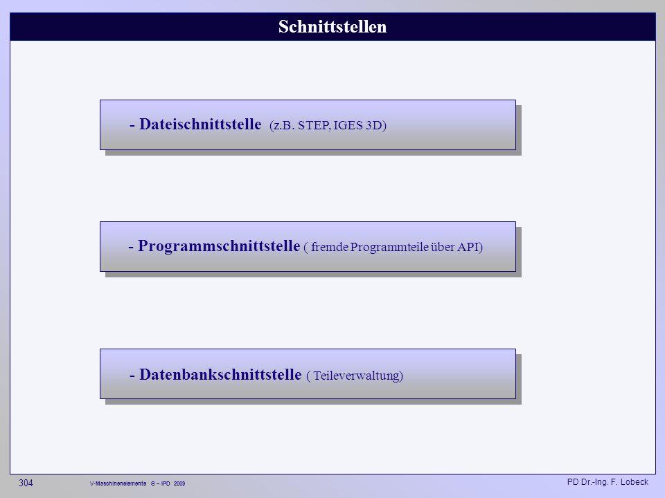 Schnittstellen - Dateischnittstelle (z.B. STEP, IGES 3D)