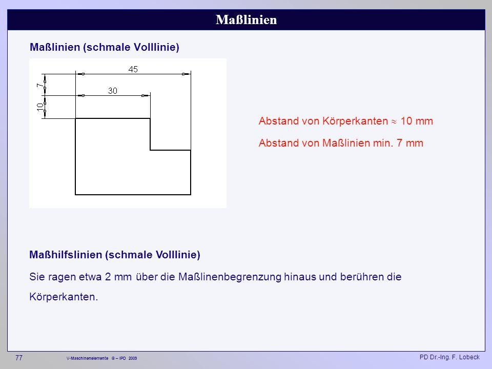 Maßlinien Maßlinien (schmale Volllinie)