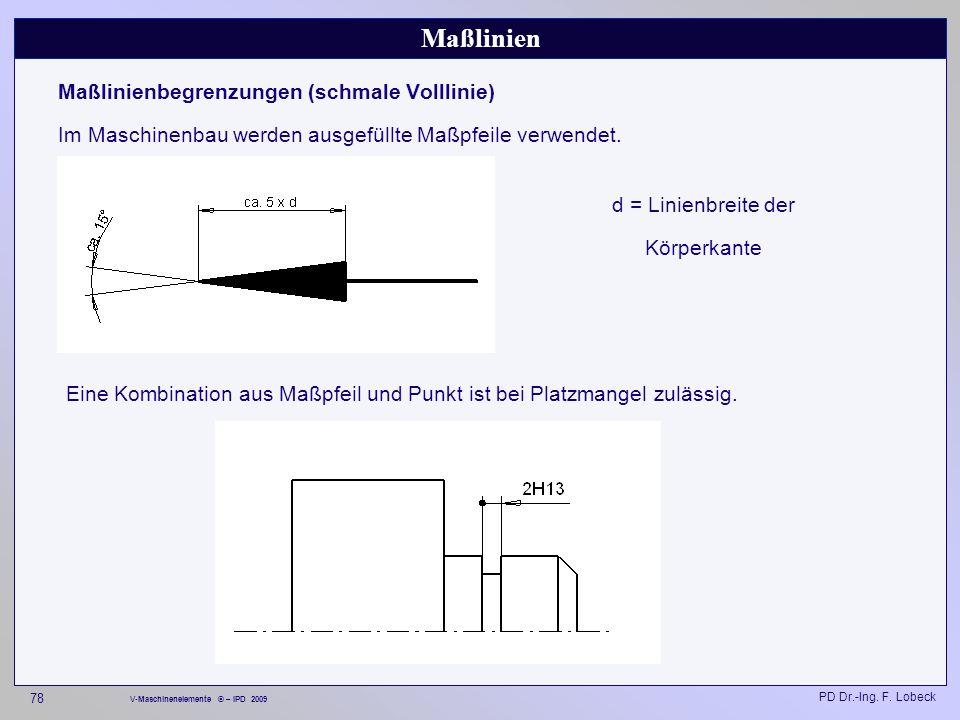 Maßlinien Maßlinienbegrenzungen (schmale Volllinie)
