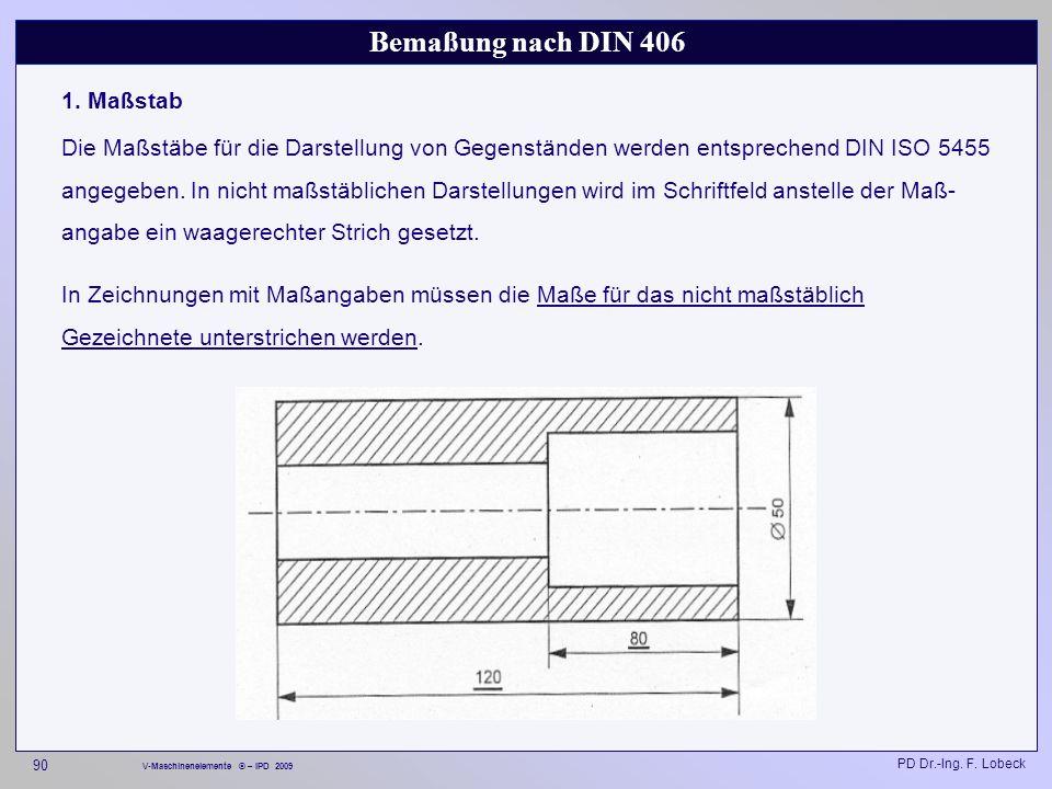 Bemaßung nach DIN 406 1. Maßstab