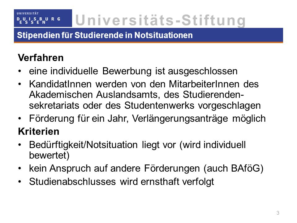Stipendien für Studierende in Notsituationen